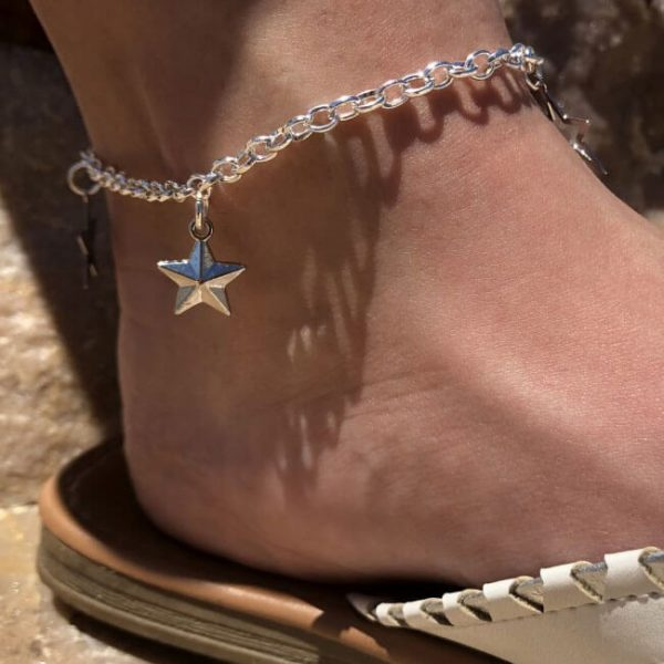 Stars Anklet /& Sterling Silver AD6S The Silver Plaza